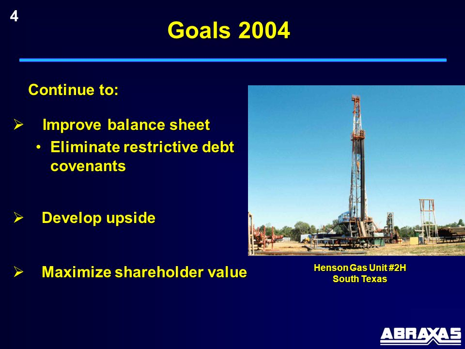 Goals 2004  Improve balance sheet Eliminate restrictive debt covenantsEliminate restrictive debt covenants Henson Gas Unit #2H South Texas  Develop upside  Maximize shareholder value 4 Continue to: