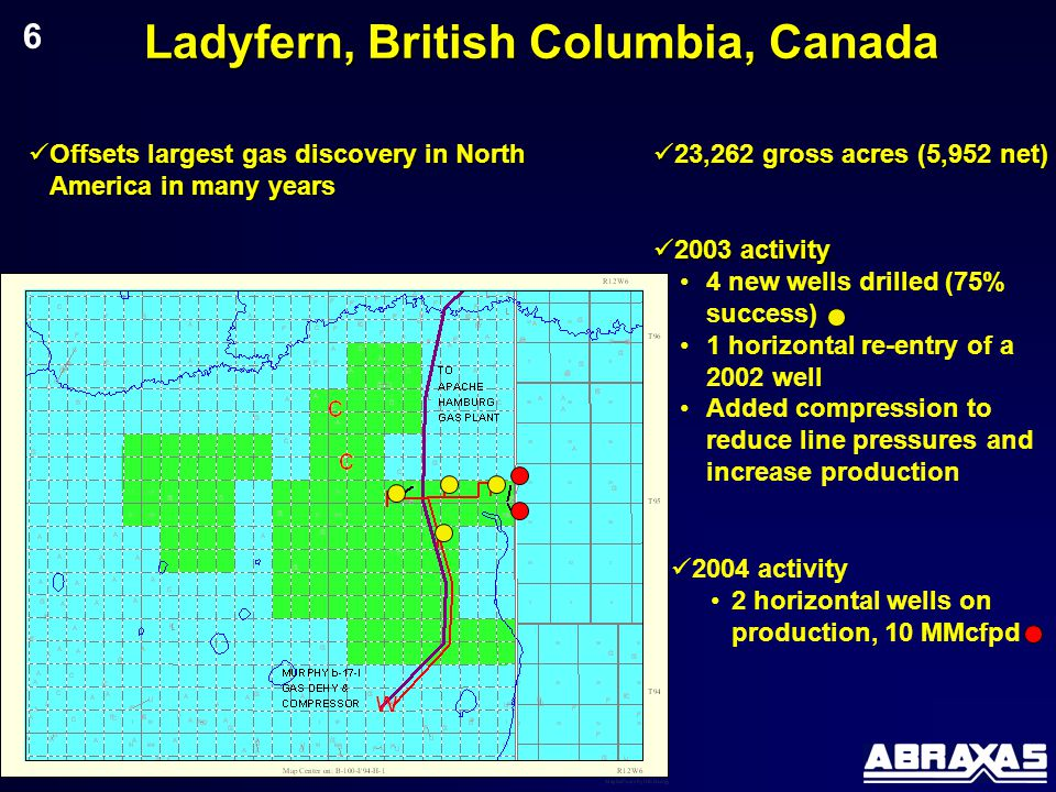 Ladyfern, British Columbia, Canada 6 Offsets largest gas discovery in North America in many years Offsets largest gas discovery in North America in many years 23,262 gross acres (5,952 net) 23,262 gross acres (5,952 net) 2004 activity 2 horizontal wells on production, 10 MMcfpd 2003 activity 2003 activity 4 new wells drilled (75% success) 1 horizontal re-entry of a 2002 well Added compression to reduce line pressures and increase production