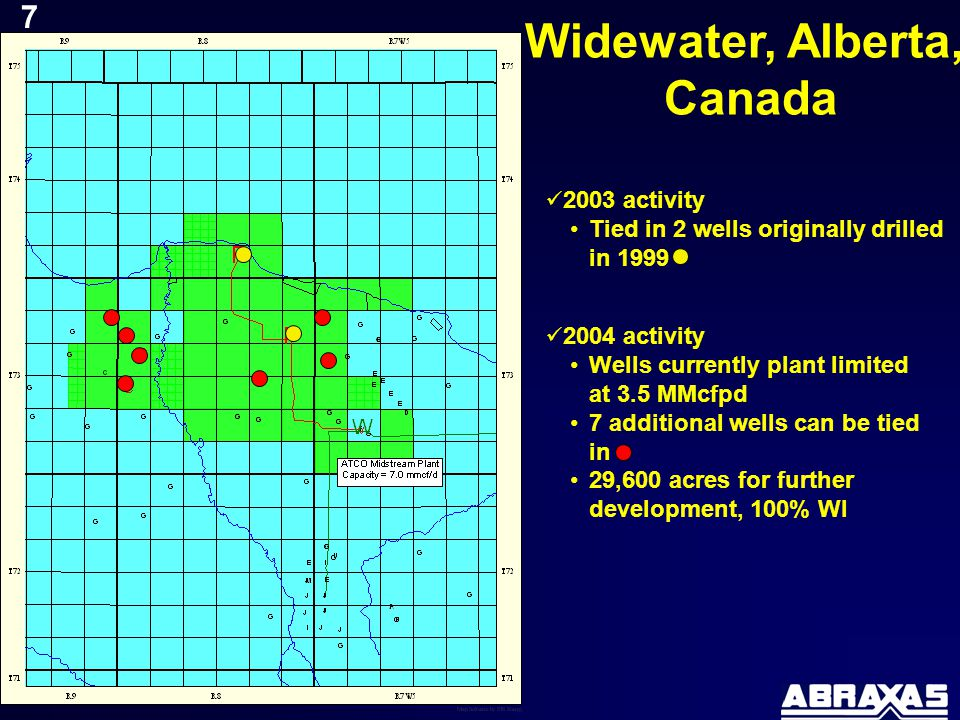 Widewater, Alberta, Canada 2003 activity Tied in 2 wells originally drilled in 1999 2004 activity Wells currently plant limited at 3.5 MMcfpd 7 additional wells can be tied in 29,600 acres for further development, 100% WI 7