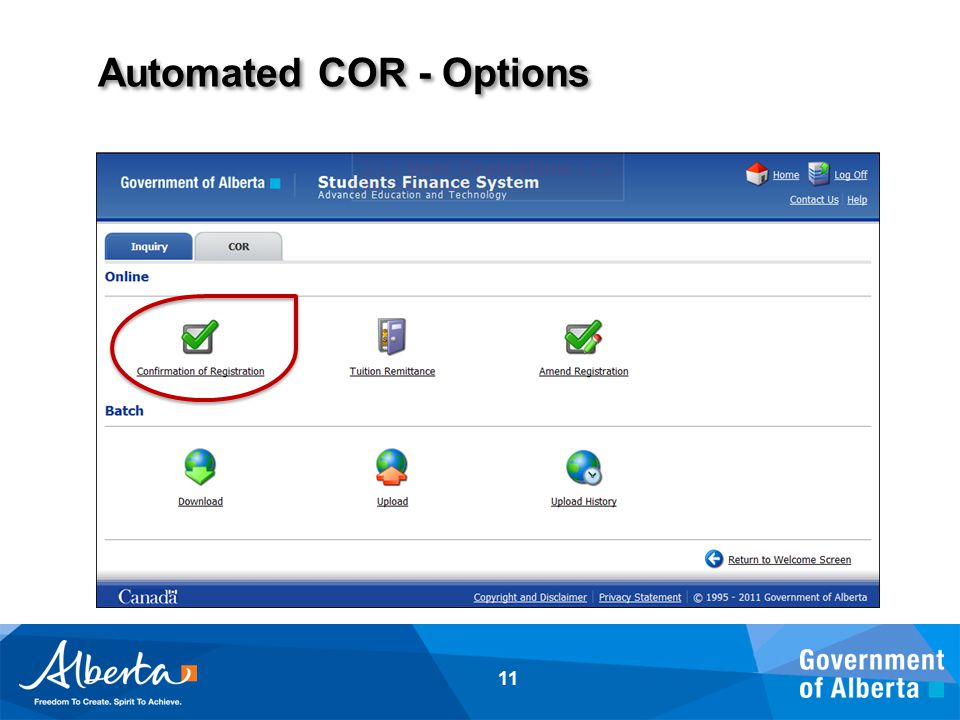 Automated COR - Options 11