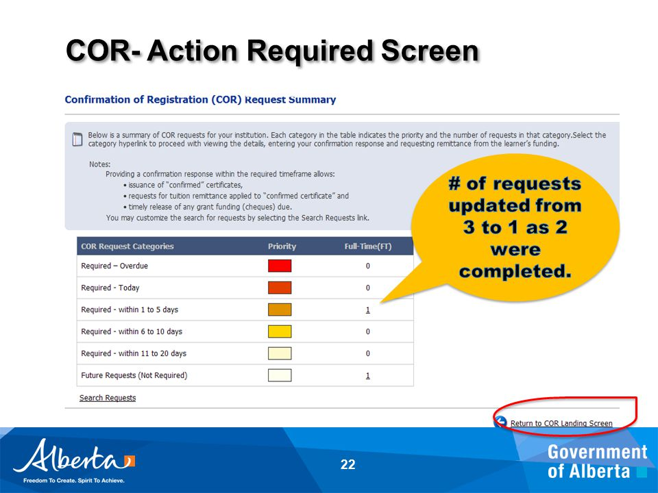 COR- Action Required Screen 22