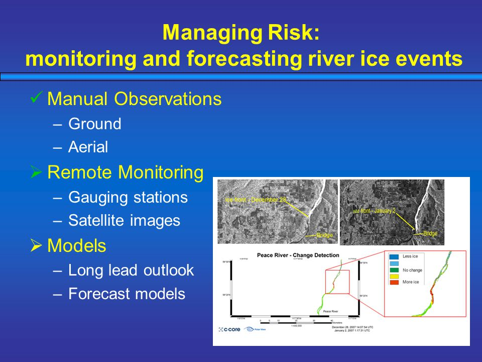 Managing Risk: monitoring and forecasting river ice events Manual Observations –Ground –Aerial  Remote Monitoring –Gauging stations –Satellite images  Models –Long lead outlook –Forecast models
