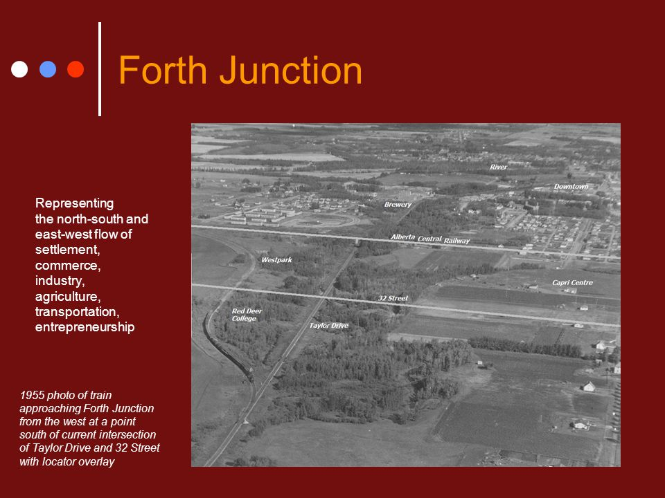 Forth Junction Representing the north-south and east-west flow of settlement, commerce, industry, agriculture, transportation, entrepreneurship 1955 p