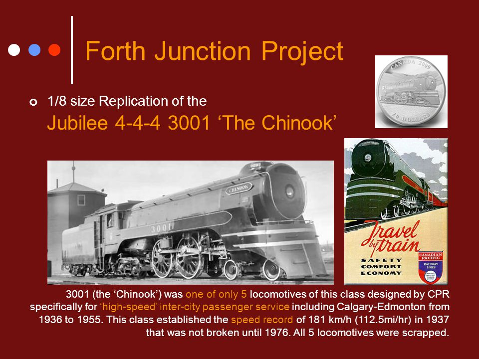 Forth Junction Project 1/8 size Replication of the Jubilee 4-4-4 3001 'The Chinook' 3001 (the 'Chinook') was one of only 5 locomotives of this class d