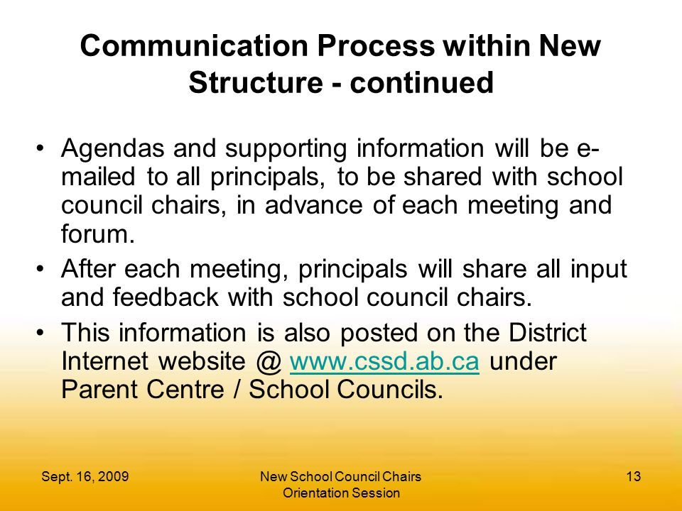 Sept. 16, 2009New School Council Chairs Orientation Session 13 Communication Process within New Structure - continued Agendas and supporting informati