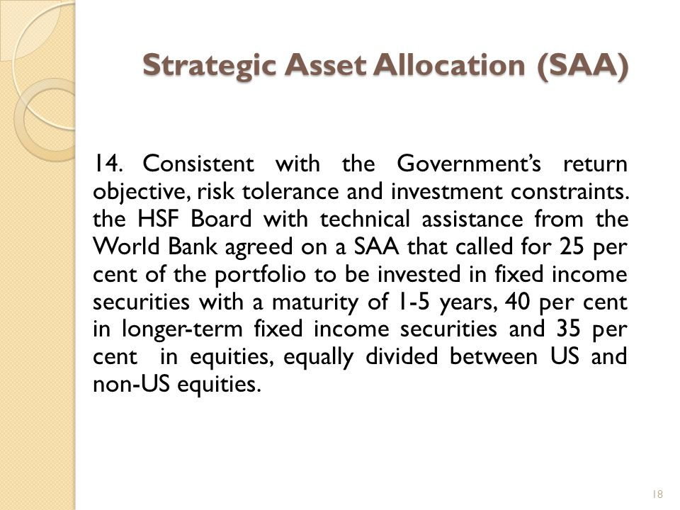 Strategic Asset Allocation (SAA) 14.