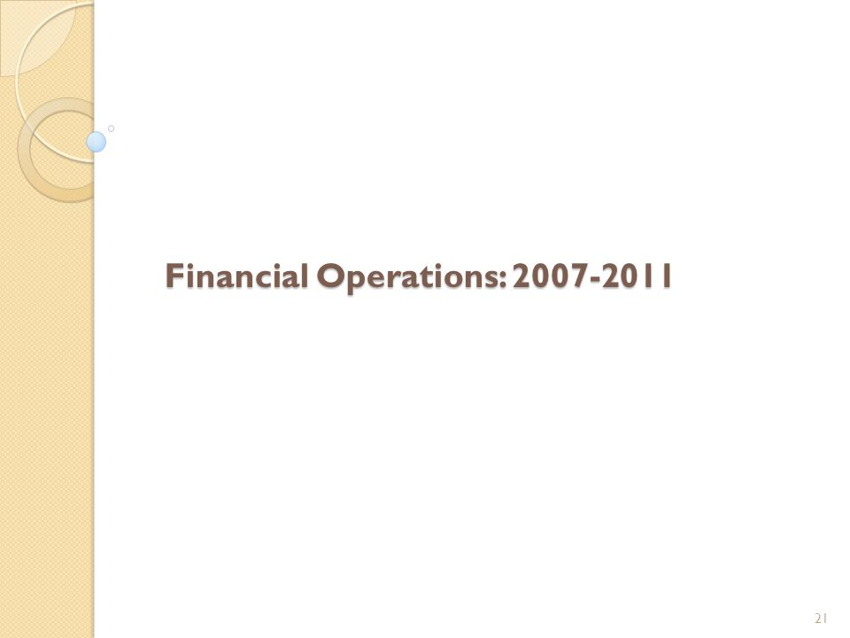 Financial Operations: 2007-2011 21