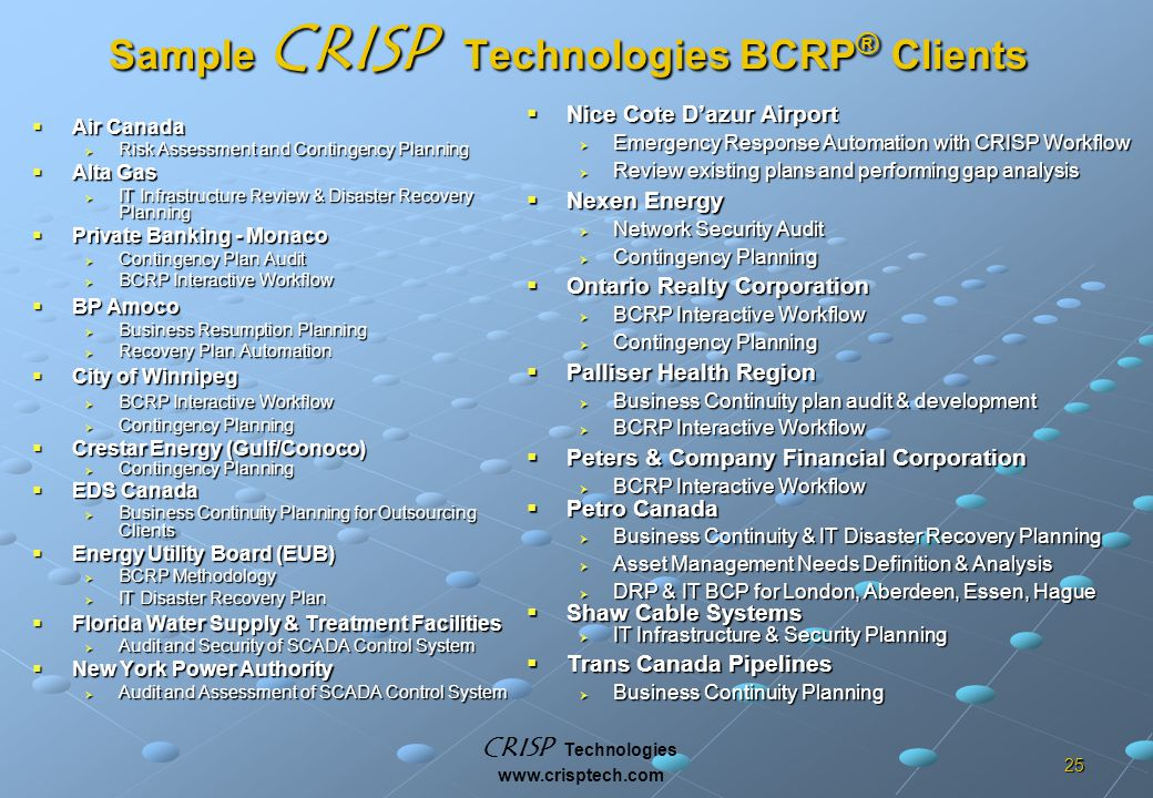 CRISP Technologies www.crisptech.com 25 Sample CRISP Technologies BCRP ® Clients  Air Canada  Risk Assessment and Contingency Planning  Alta Gas  IT Infrastructure Review & Disaster Recovery Planning  Private Banking - Monaco  Contingency Plan Audit  BCRP Interactive Workflow  BP Amoco  Business Resumption Planning  Recovery Plan Automation  City of Winnipeg  BCRP Interactive Workflow  Contingency Planning  Crestar Energy (Gulf/Conoco)  Contingency Planning  EDS Canada  Business Continuity Planning for Outsourcing Clients  Energy Utility Board (EUB)  BCRP Methodology  IT Disaster Recovery Plan  Florida Water Supply & Treatment Facilities  Audit and Security of SCADA Control System  New York Power Authority  Audit and Assessment of SCADA Control System  Nice Cote D'azur Airport  Emergency Response Automation with CRISP Workflow  Review existing plans and performing gap analysis  Nexen Energy  Network Security Audit  Contingency Planning  Ontario Realty Corporation  BCRP Interactive Workflow  Contingency Planning  Palliser Health Region  Business Continuity plan audit & development  BCRP Interactive Workflow  Peters & Company Financial Corporation  BCRP Interactive Workflow  Petro Canada  Business Continuity & IT Disaster Recovery Planning  Asset Management Needs Definition & Analysis  DRP & IT BCP for London, Aberdeen, Essen, Hague  Shaw Cable Systems  IT Infrastructure & Security Planning  Trans Canada Pipelines  Business Continuity Planning