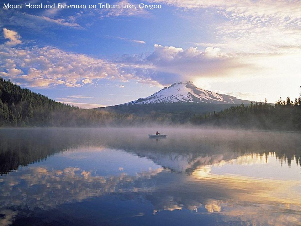 Mount Hood and Fisherman on Trillium Lake, Oregon