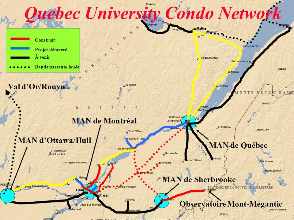 À venir Bande passante louée Projet démarré Construit Observatoire Mont-Mégantic Val d'Or/Rouyn MAN de Montréal MAN de Québec MAN de Sherbrooke MAN d'Ottawa/Hull Quebec University Condo Network