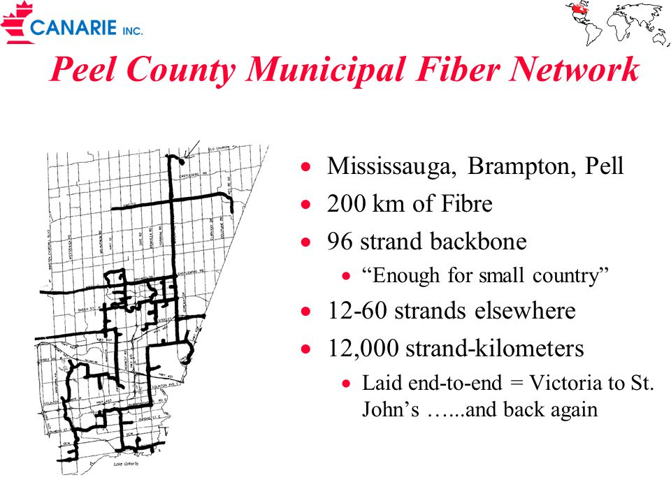 Peel County Municipal Fiber Network  Mississauga, Brampton, Pell  200 km of Fibre  96 strand backbone  Enough for small country  12-60 strands elsewhere  12,000 strand-kilometers  Laid end-to-end = Victoria to St.