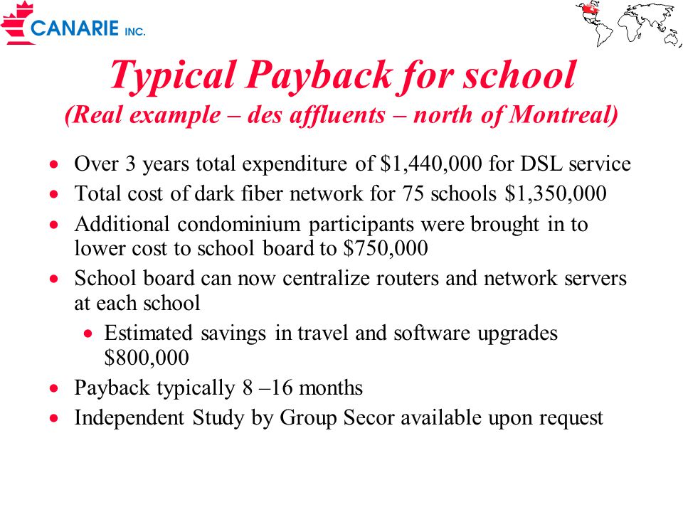Typical Payback for school (Real example – des affluents – north of Montreal)  Over 3 years total expenditure of $1,440,000 for DSL service  Total cost of dark fiber network for 75 schools $1,350,000  Additional condominium participants were brought in to lower cost to school board to $750,000  School board can now centralize routers and network servers at each school  Estimated savings in travel and software upgrades $800,000  Payback typically 8 –16 months  Independent Study by Group Secor available upon request