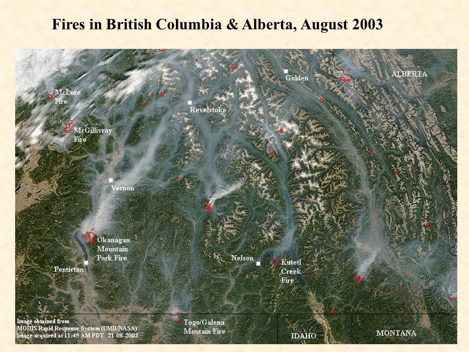 Fires in British Columbia & Alberta, August 2003