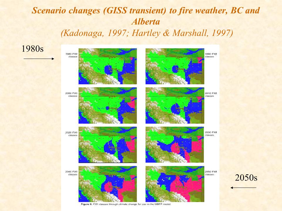 Scenario changes (GISS transient) to fire weather, BC and Alberta (Kadonaga, 1997; Hartley & Marshall, 1997) 1980s 2050s