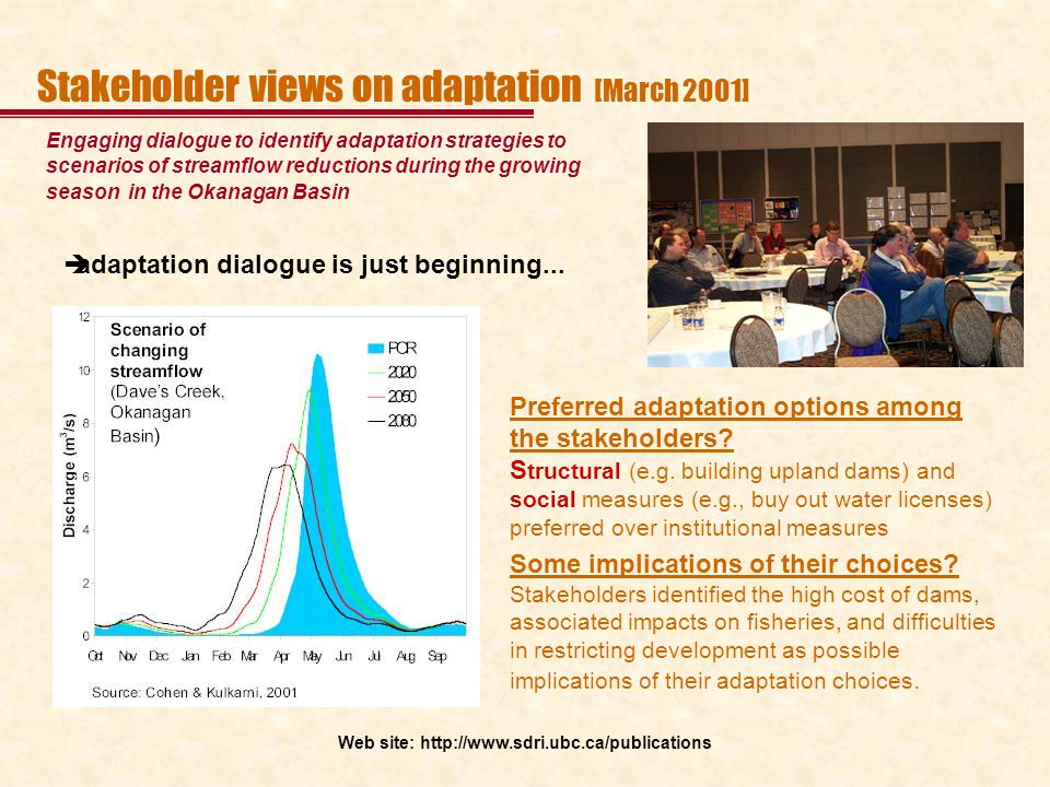 Stakeholder views on adaptation [March 2001] Engaging dialogue to identify adaptation strategies to scenarios of streamflow reductions during the grow
