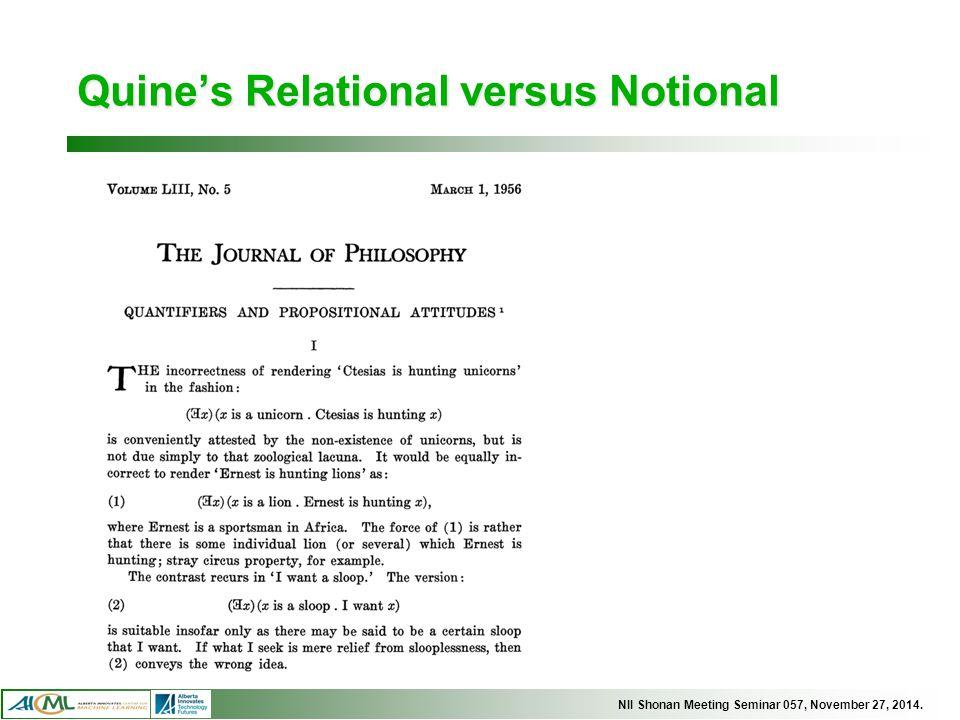 NII Shonan Meeting Seminar 057, November 27, 2014. Quine's Relational versus Notional