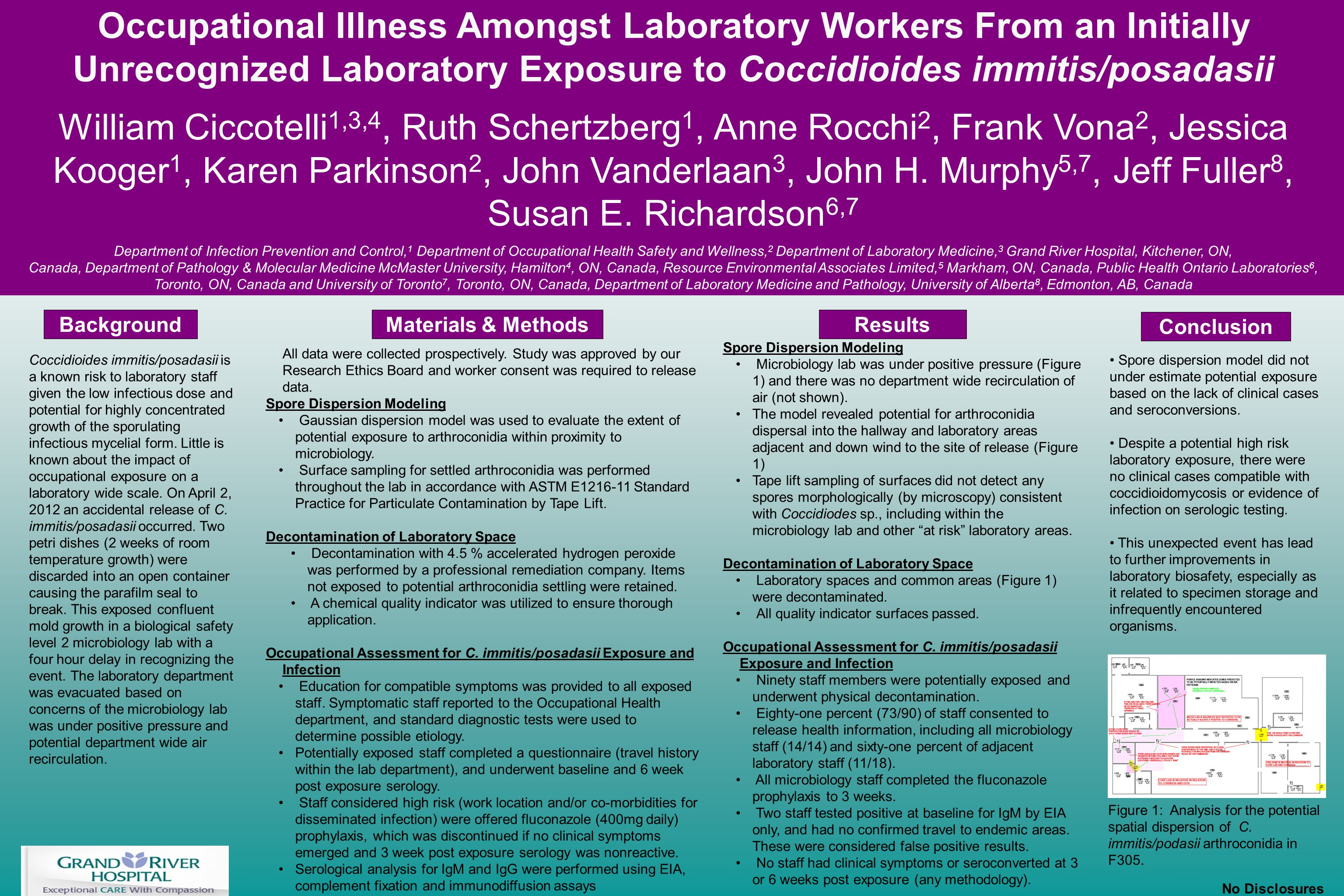 Occupational Illness Amongst Laboratory Workers From an Initially Unrecognized Laboratory Exposure to Coccidioides immitis/posadasii William Ciccotelli 1,3,4, Ruth Schertzberg 1, Anne Rocchi 2, Frank Vona 2, Jessica Kooger 1, Karen Parkinson 2, John Vanderlaan 3, John H.