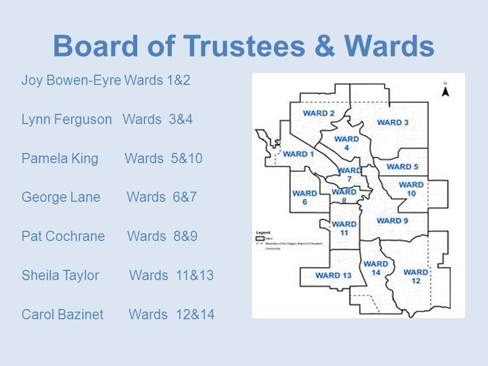 Board of Trustees & Wards Joy Bowen-Eyre Wards 1&2 Lynn Ferguson Wards 3&4 Pamela King Wards 5&10 George Lane Wards 6&7 Pat Cochrane Wards 8&9 Sheila Taylor Wards 11&13 Carol Bazinet Wards 12&14