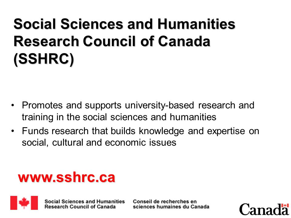 Social Sciences and Humanities Research Council of Canada (SSHRC) Promotes and supports university-based research and training in the social sciences and humanities Funds research that builds knowledge and expertise on social, cultural and economic issues www.sshrc.ca