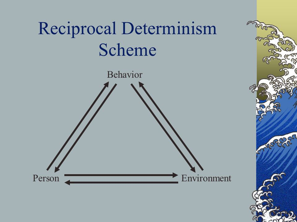 Reciprocal Determinism People do not simply react to environmental events, but also actively create their environments and act to change them.