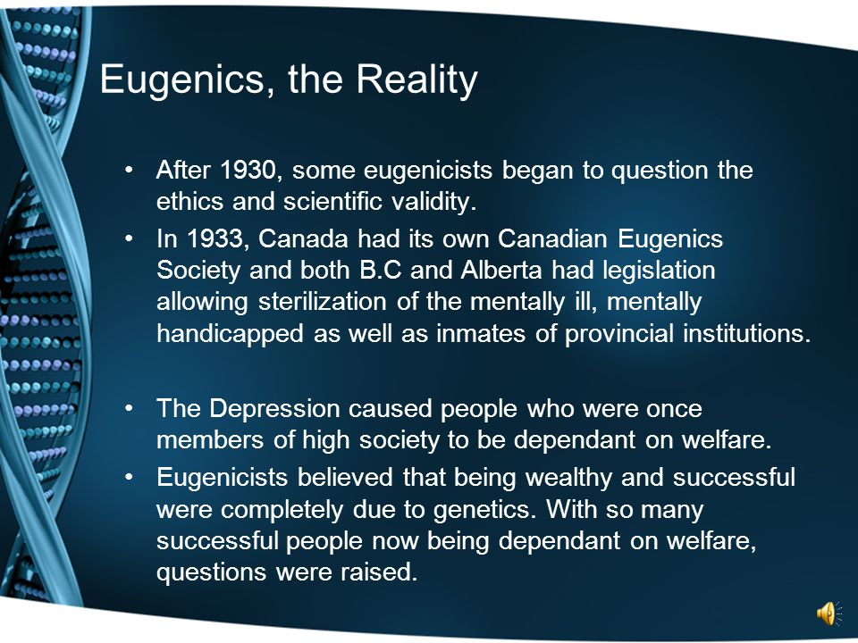 Eugenics, a History Cont'd. Questions raised by the organization included: who produced and how often, and the sexual sterilization unfit parents (eth