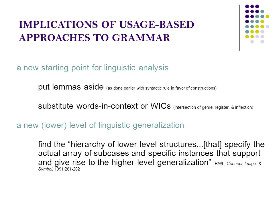 IMPLICATIONS OF USAGE-BASED APPROACHES TO GRAMMAR a new starting point for linguistic analysis put lemmas aside (as done earlier with syntactic rule i
