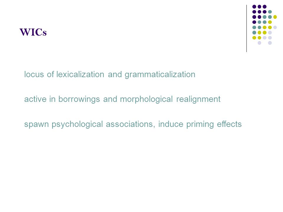 WICs locus of lexicalization and grammaticalization active in borrowings and morphological realignment spawn psychological associations, induce primin