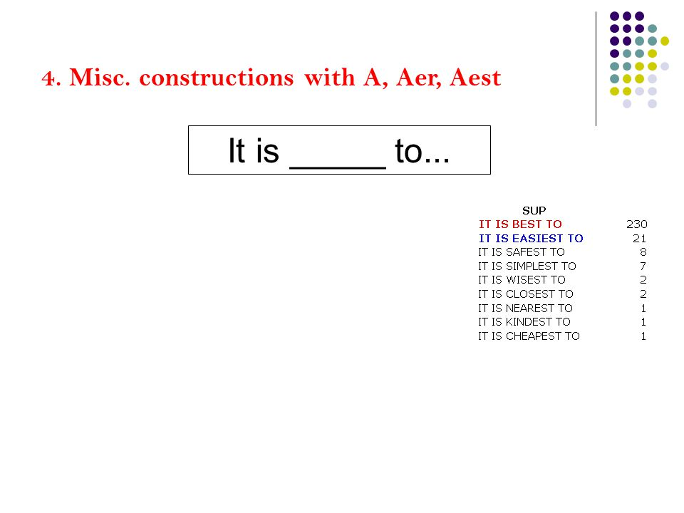 4. Misc. constructions with A, Aer, Aest It is _____ to...