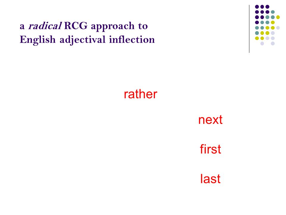 a radical RCG approach to English adjectival inflection rath(e) rather rathest nighnear next nearest formeformer first foremost latelater last latest