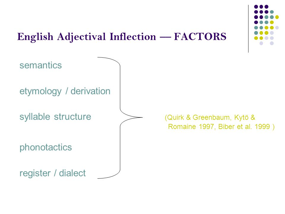 English Adjectival Inflection –– FACTORS semantics etymology / derivation syllable structure (Quirk & Greenbaum, Kytö & Romaine 1997, Biber et al. 199