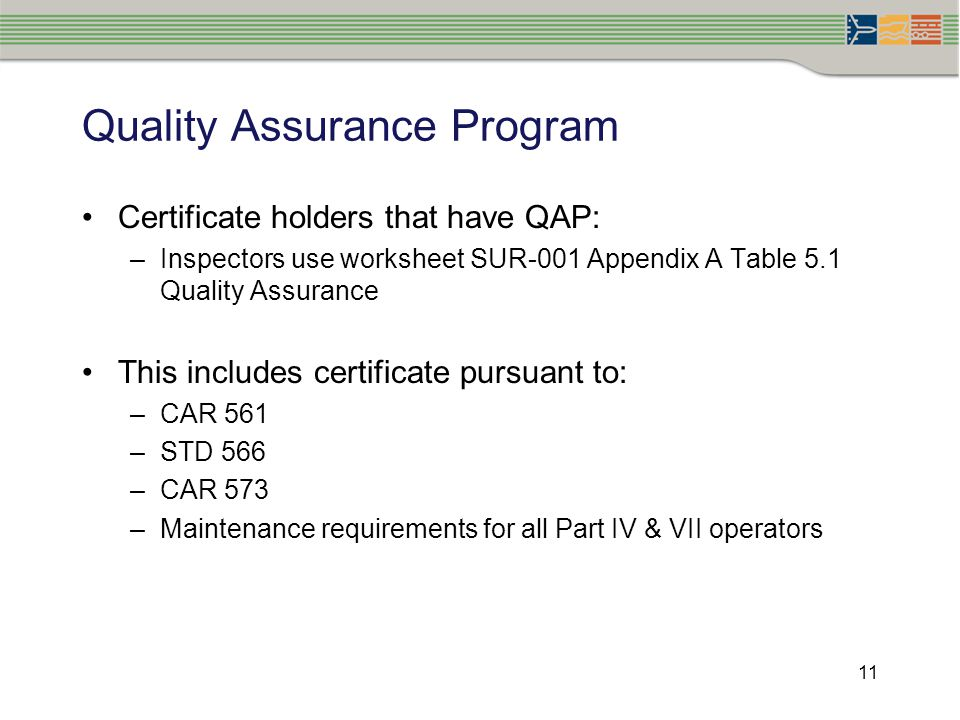11 Quality Assurance Program Certificate holders that have QAP: –Inspectors use worksheet SUR-001 Appendix A Table 5.1 Quality Assurance This includes