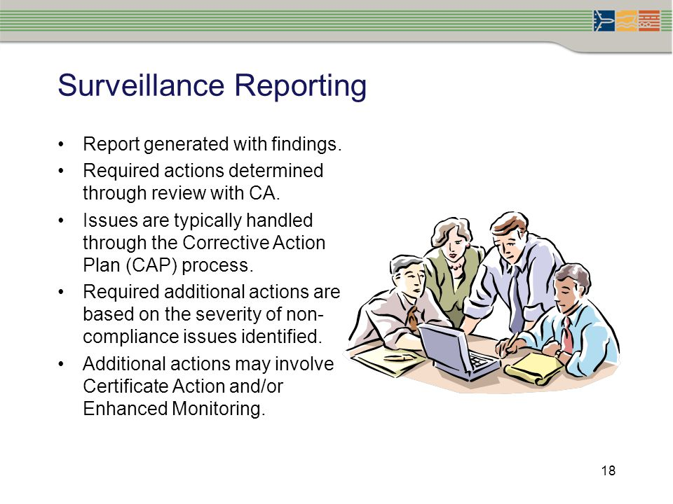 18 Surveillance Reporting Report generated with findings. Required actions determined through review with CA. Issues are typically handled through the