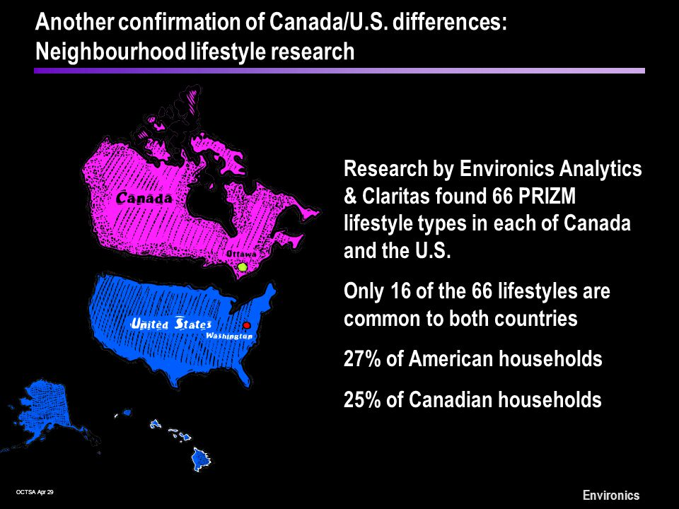 OCTSA Apr 29 Environics Research by Environics Analytics & Claritas found 66 PRIZM lifestyle types in each of Canada and the U.S.