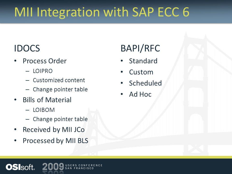 MII Integration with SAP ECC 6 IDOCS Process Order – LOIPRO – Customized content – Change pointer table Bills of Material – LOIBOM – Change pointer table Received by MII JCo Processed by MII BLS BAPI/RFC Standard Custom Scheduled Ad Hoc