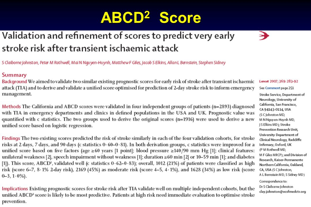 Michael Ross, MD, FACEP ABCD 2 Score