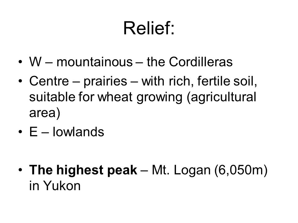 Relief: W – mountainous – the Cordilleras Centre – prairies – with rich, fertile soil, suitable for wheat growing (agricultural area) E – lowlands The highest peak – Mt.