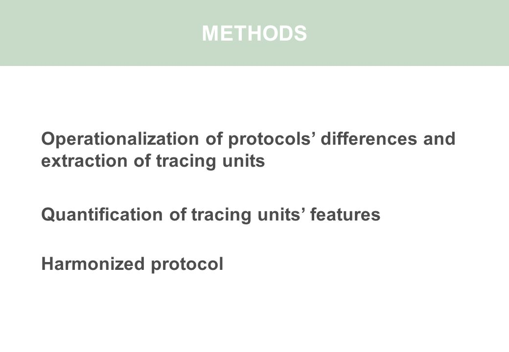 Operationalization of protocols' differences and extraction of tracing units Quantification of tracing units' features Harmonized protocol METHODS