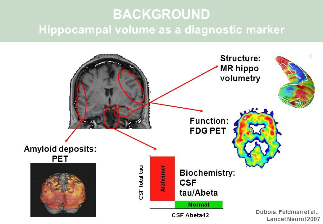 Structure: MR hippo volumetry Biochemistry: CSF tau/Abeta Function: FDG PET Amyloid deposits: PET BACKGROUND Hippocampal volume as a diagnostic marker Dubois, Feldman et al., Lancet Neurol 2007