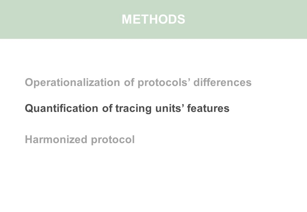 Operationalization of protocols' differences Quantification of tracing units' features Harmonized protocol METHODS