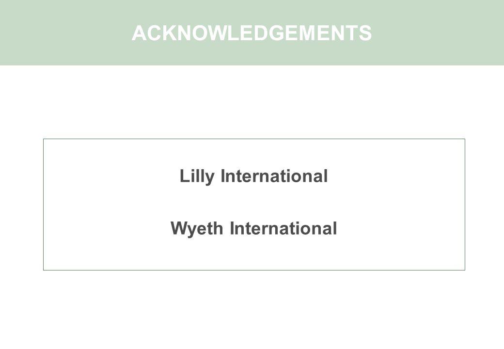 Lilly International Wyeth International ACKNOWLEDGEMENTS