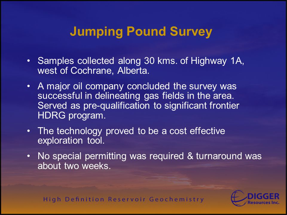 Jumping Pound Survey Samples collected along 30 kms. of Highway 1A, west of Cochrane, Alberta. A major oil company concluded the survey was successful