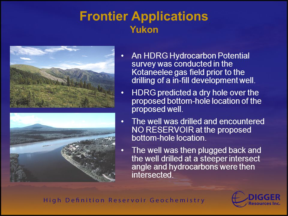 An HDRG Hydrocarbon Potential survey was conducted in the Kotaneelee gas field prior to the drilling of a in-fill development well. HDRG predicted a d
