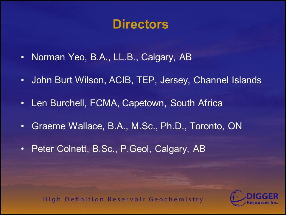 Directors Norman Yeo, B.A., LL.B., Calgary, AB John Burt Wilson, ACIB, TEP, Jersey, Channel Islands Len Burchell, FCMA, Capetown, South Africa Graeme Wallace, B.A., M.Sc., Ph.D., Toronto, ON Peter Colnett, B.Sc., P.Geol, Calgary, AB
