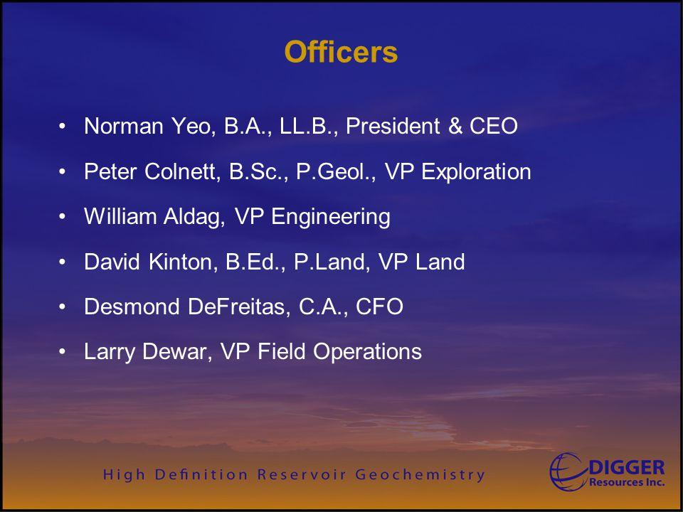 Officers Norman Yeo, B.A., LL.B., President & CEO Peter Colnett, B.Sc., P.Geol., VP Exploration William Aldag, VP Engineering David Kinton, B.Ed., P.Land, VP Land Desmond DeFreitas, C.A., CFO Larry Dewar, VP Field Operations