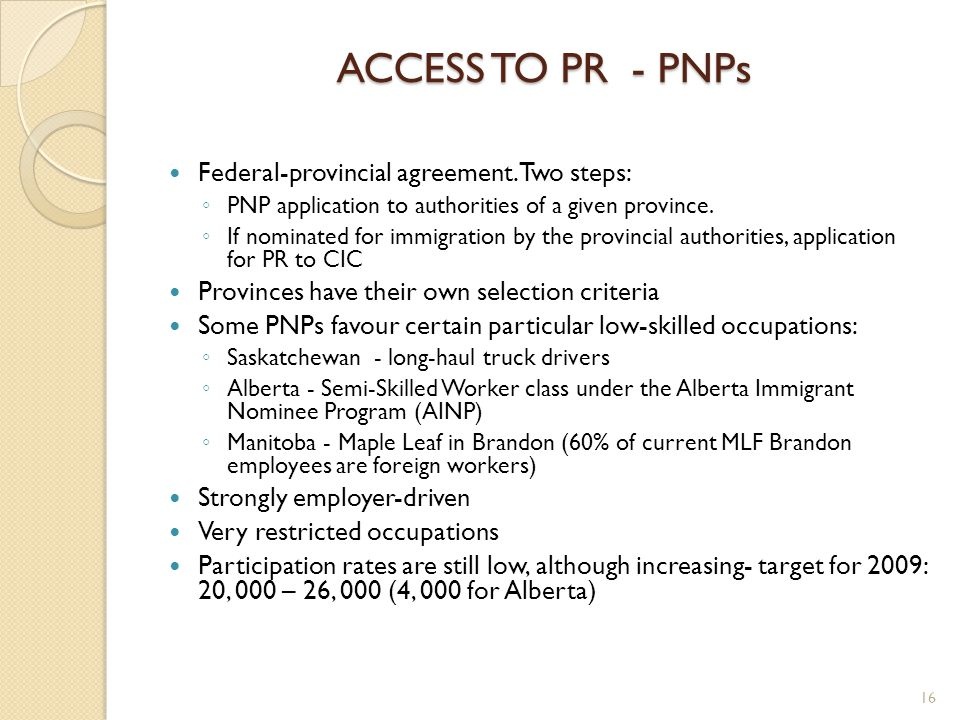 ACCESS TO PR - PNPs Federal-provincial agreement.
