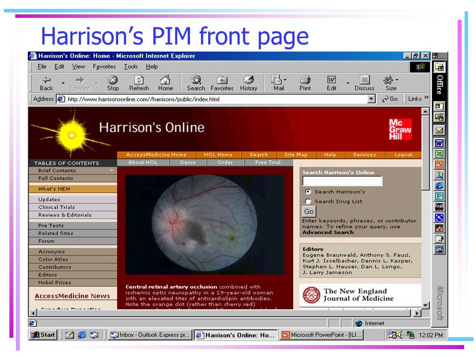 Harrison's PIM front page