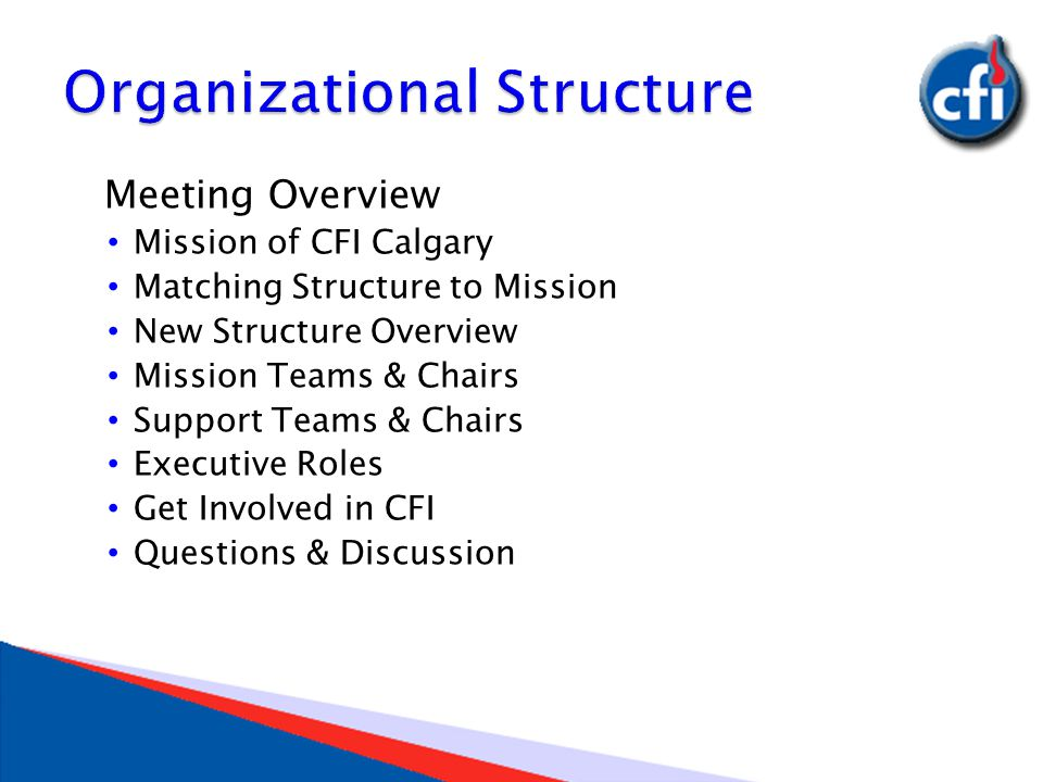 Meeting Overview Mission of CFI Calgary Matching Structure to Mission New Structure Overview Mission Teams & Chairs Support Teams & Chairs Executive Roles Get Involved in CFI Questions & Discussion