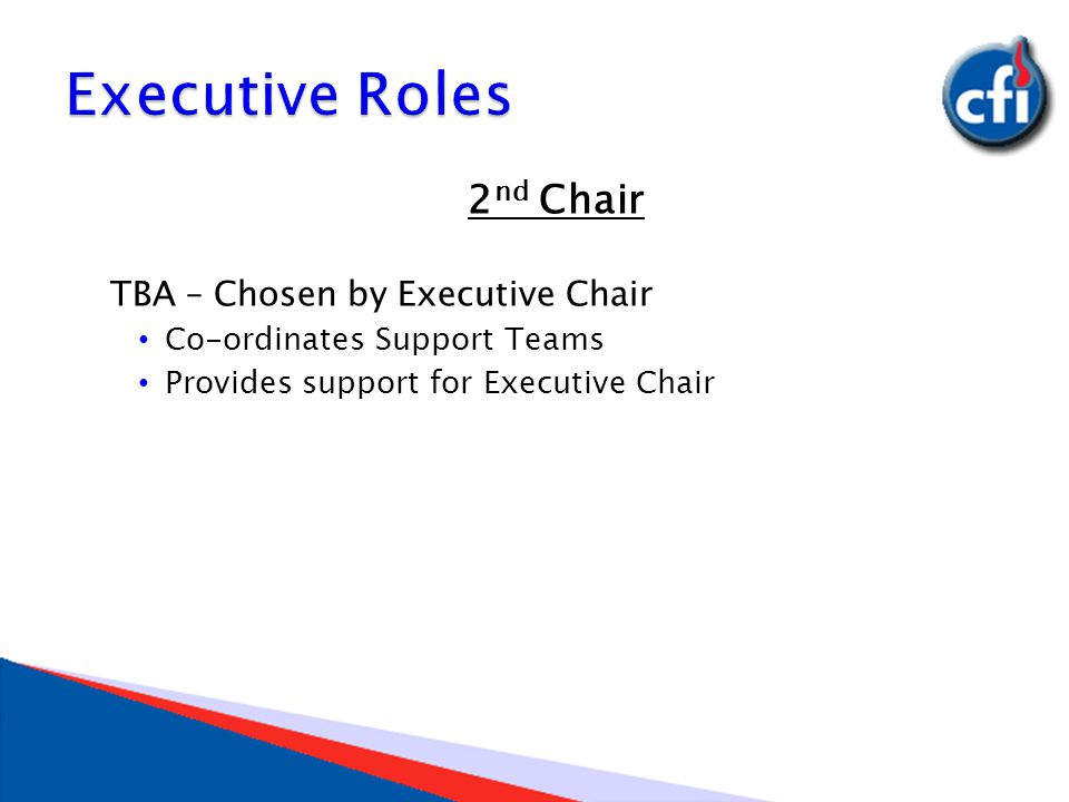 2 nd Chair TBA – Chosen by Executive Chair Co-ordinates Support Teams Provides support for Executive Chair