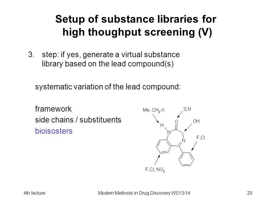 4th lectureModern Methods in Drug Discovery WS13/1425 Setup of substance libraries for high thoughput screening (V) 3.step: if yes, generate a virtual