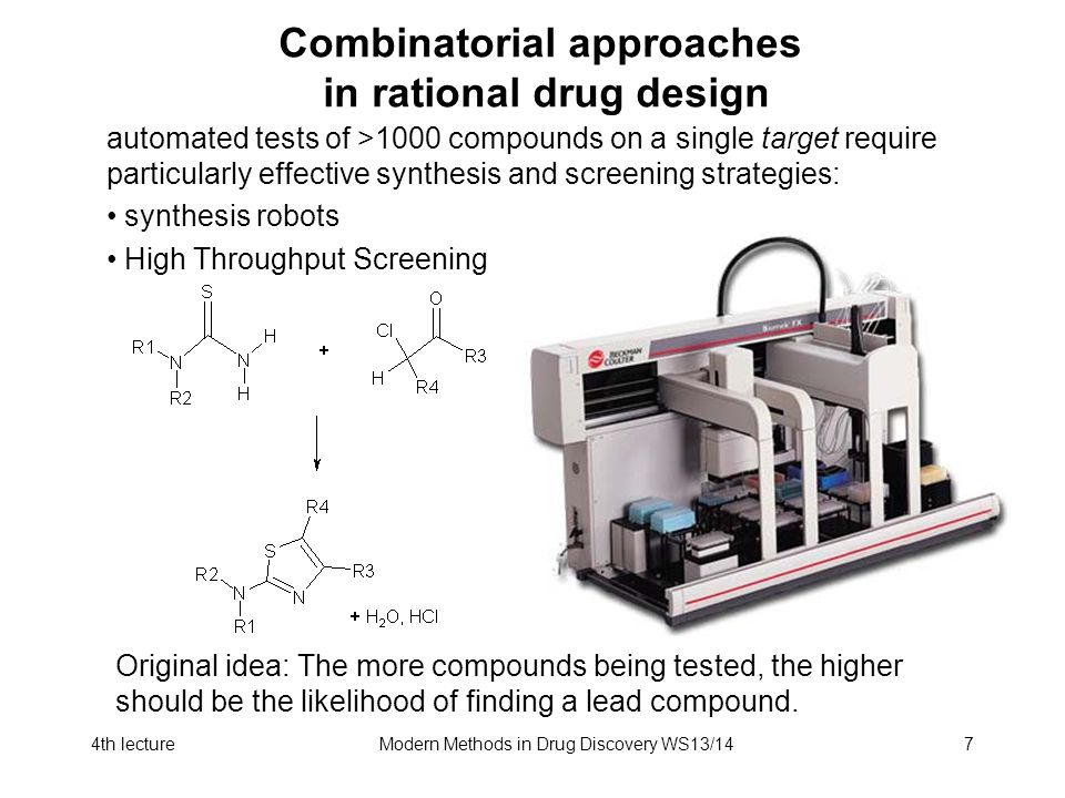 4th lectureModern Methods in Drug Discovery WS13/147 Combinatorial approaches in rational drug design automated tests of >1000 compounds on a single t